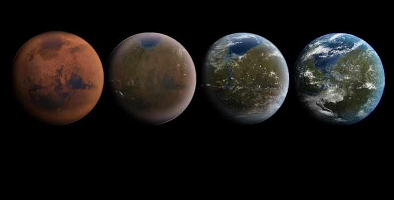 An artist impression of Mars being terraformed.