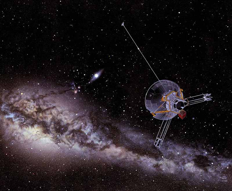 An artist's impression of a Pioneer spacecraft on its way to interstellar space