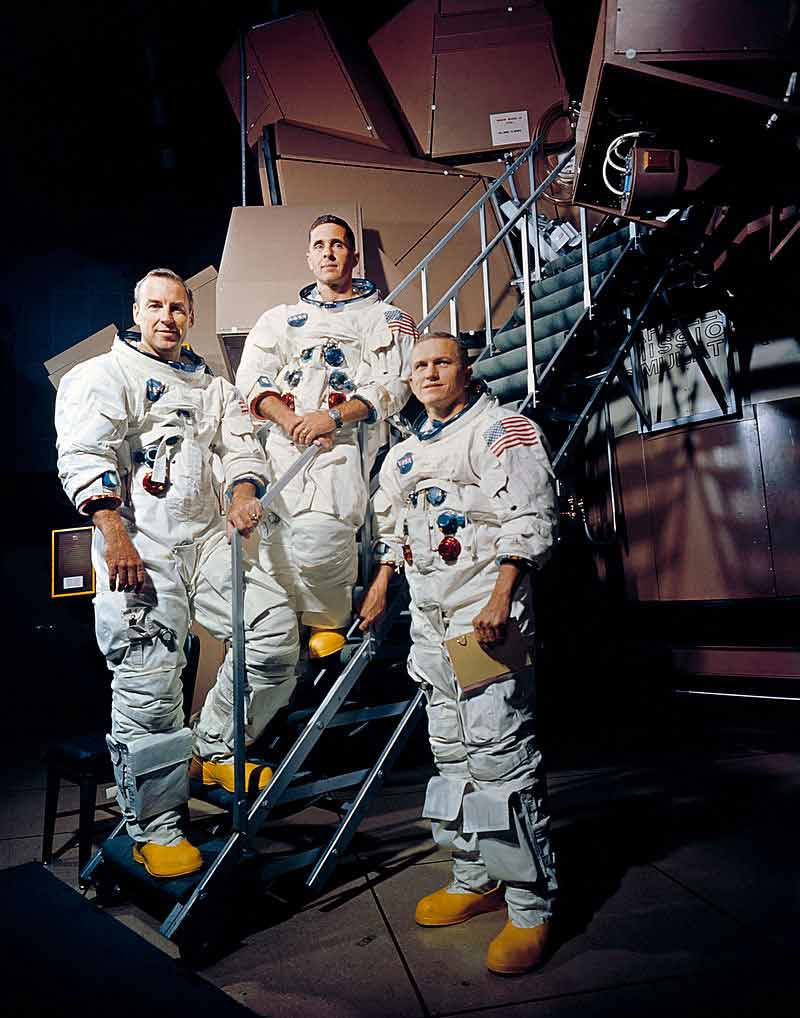 Apollo 8 crew is photographed posing on a Kennedy Space Center (KSC) simulator in their space suits. From left to right are: James A. Lovell Jr., William A. Anders, and Frank Borman.