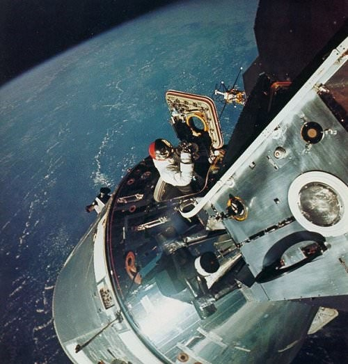 Apollo 9 astronaut Dave Scott coming out of the command and service module during a spacewalk in March 1969. (Image credit NASA)