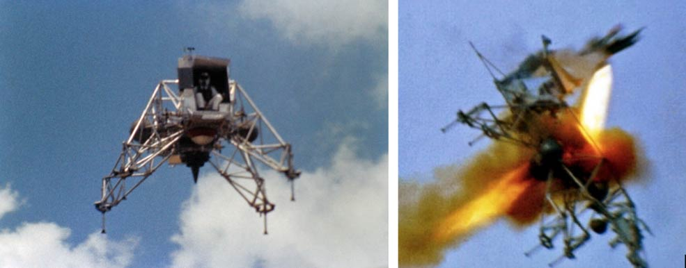 Astronaut Neil Armstrong flying LLRV-1 at Ellington AFB shortly before the crash (left) and ejecting from the vehicle just seconds before it crashed (right).