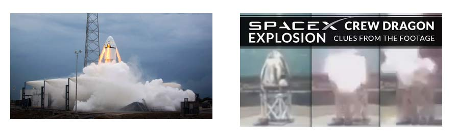 Figure Dragon crew module under test on left and the test anomaly on right