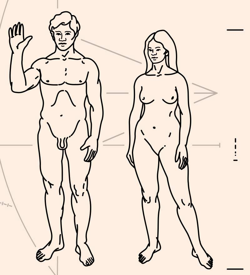 Figures of a man and a woman