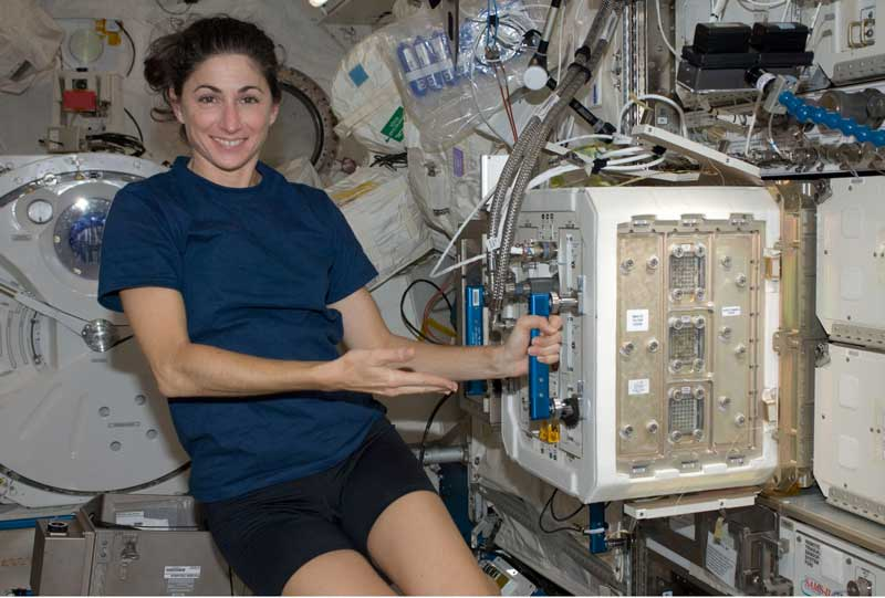 NASA Image: NASA astronaut Nicole Stott, Expedition 20/21 flight engineer, is pictured near the Mice Drawer System (MDS) in the Kibo laboratory of the International Space Station.