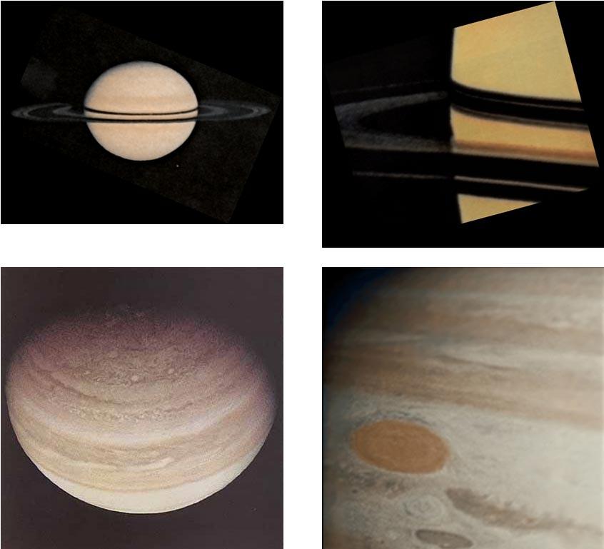 Photos of Saturn and Jupiter taken by Pioneer 11. Image Credits: NASA