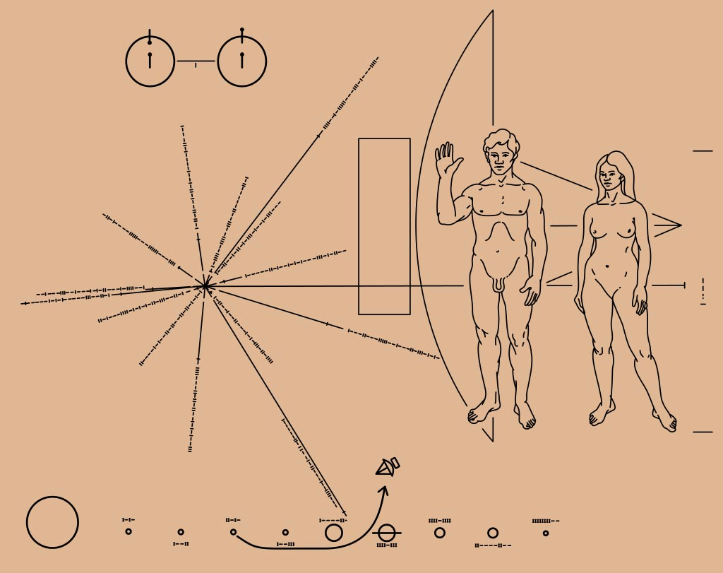 The illustration on the Pioneer plaque and the actual plaque on Pioneer 11.