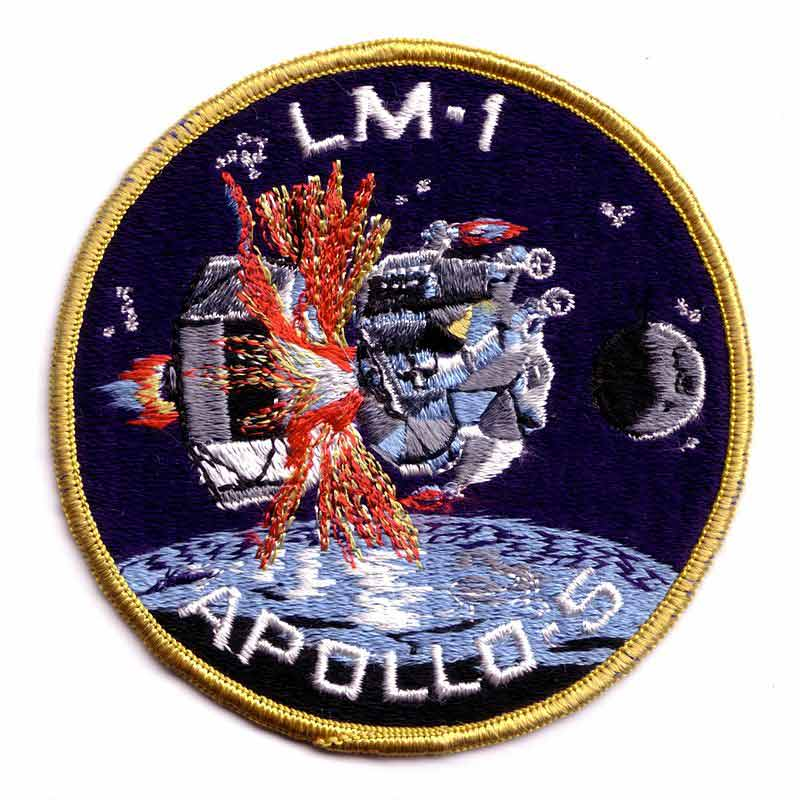 The mission patch for Apollo 5, the first unmanned test flight of the Apollo Lunar Module.