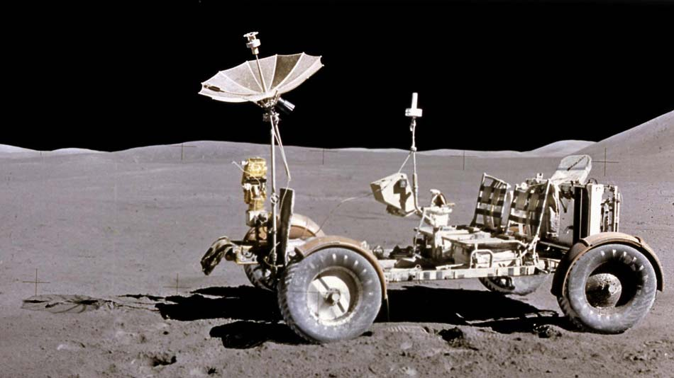 This photograph of the Lunar Roving Vehicle (LRV) was taken during the Apollo 15 mission. Powered by battery, the lightweight electric car greatly increased the range of mobility and productivity on the scientific traverses for astronauts. Photo Credit: NASA