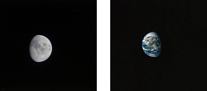 View of the Moon (left) and Earth (right)