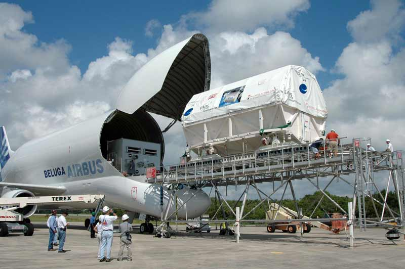 The European Columbus module being unloaded from the Airbus Beluga at the Shuttle Landing Facility The European Columbus module being unloaded from the Airbus Beluga at the Shuttle Landing Facility