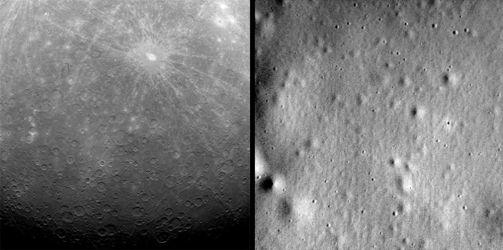 MESSENGER's first (March 29, 2011) and last (April 30, 2015) images from Mercury's orbit