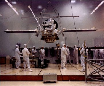 Mariner 10 spacecraft is being assembled prior to its November 1973 launch.