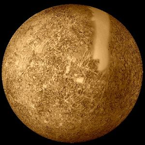 Reprocessed Mariner 10 data was used to produce this image of Mercury. The smooth band is an area of which no images were taken