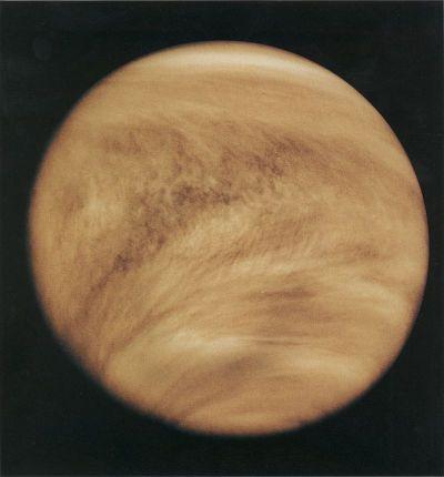 The atmosphere of Venus as viewed in ultraviolet by the Pioneer Venus Orbiter in 1979.