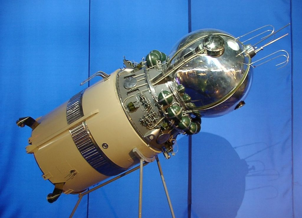 """Model of the Vostok spacecraft with its upper stage, on display in Frankfurt Airport's """"Russia in Space"""" exhibition"""