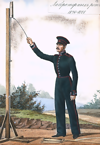 A Russian soldier depicted using the Congreve rocket