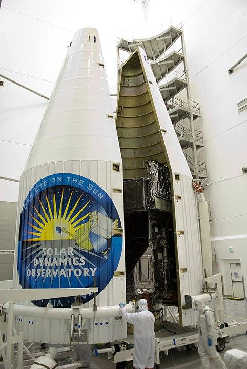 NASA's Solar Dynamics Observatory being encapsulated into its payload fairing. Photo credits: NASA