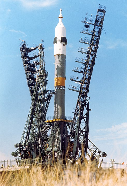 Soyuz 18 booster on the launch pad 1 at the Baikonur complex in Kazakhstan, USSR. Photo credits: NASA