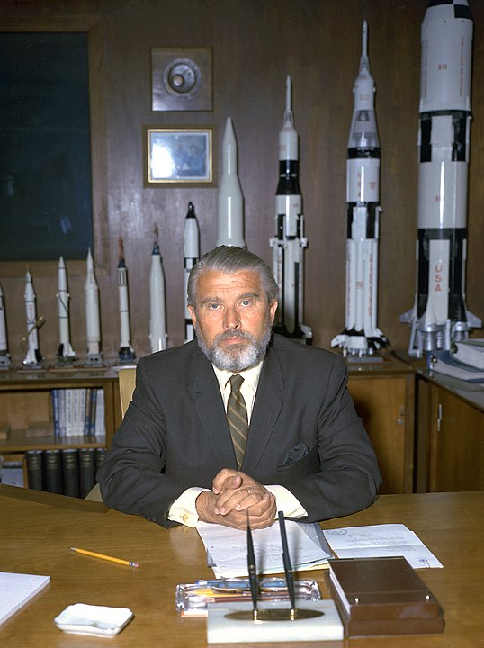 Still with his rocket models, von Braun is pictured in his new office at NASA headquarters in 1970