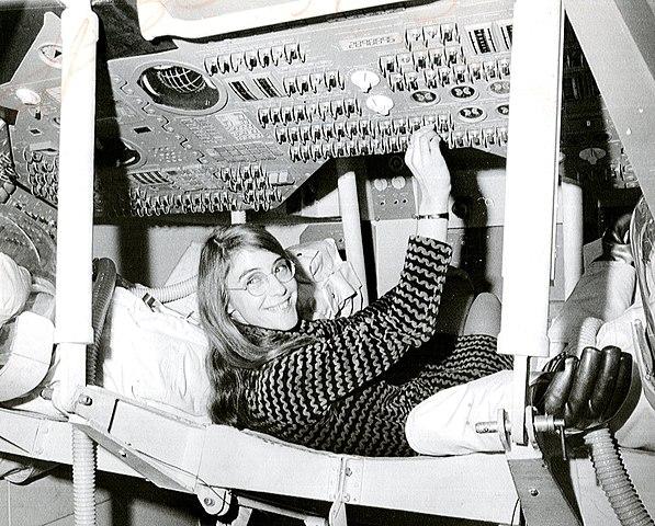 Hamilton during her time as lead Apollo flight software designer