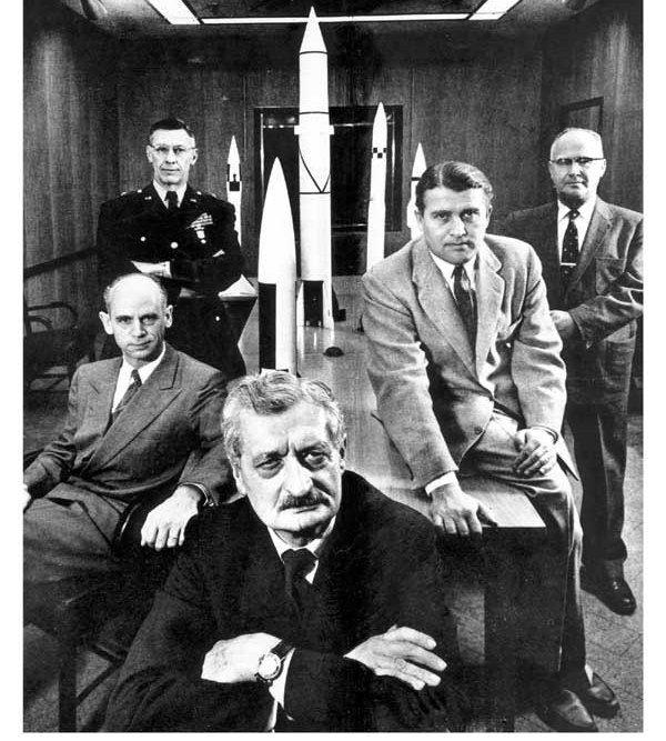 Hermann Oberth (center), was the mentor of Wernher von Braun (second from right). (Image credit: NASA)