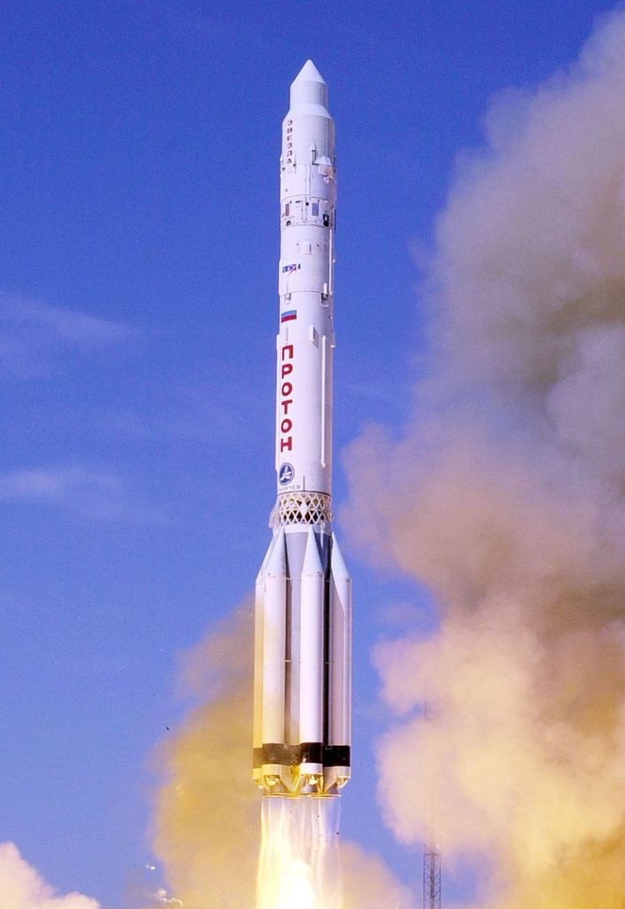 The launch of the Zvezda service module of the International Space Station on a Russian Proton-K rocket.