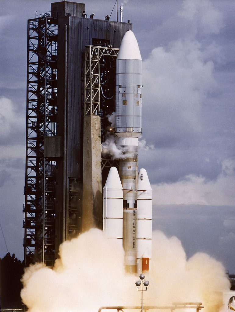 The Voyager 2 aboard Titan III-Centaur launch vehicle lifted off on August 20, 1977. The Voyager 2 was a scientific satellite to study the Jupiter and the Saturn planetary systems including their satellites and Saturn's rings.