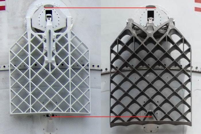 Grid fins comparison. Old on left.  Photo credits: Geofcc/Stackexchange