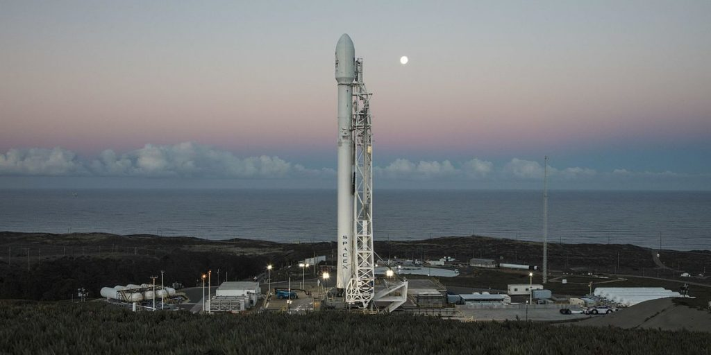 Falcon 9 with ten Iridium NEXT communications satellites at Space Launch Complex 4E at Vandenberg Air Force Base, California.