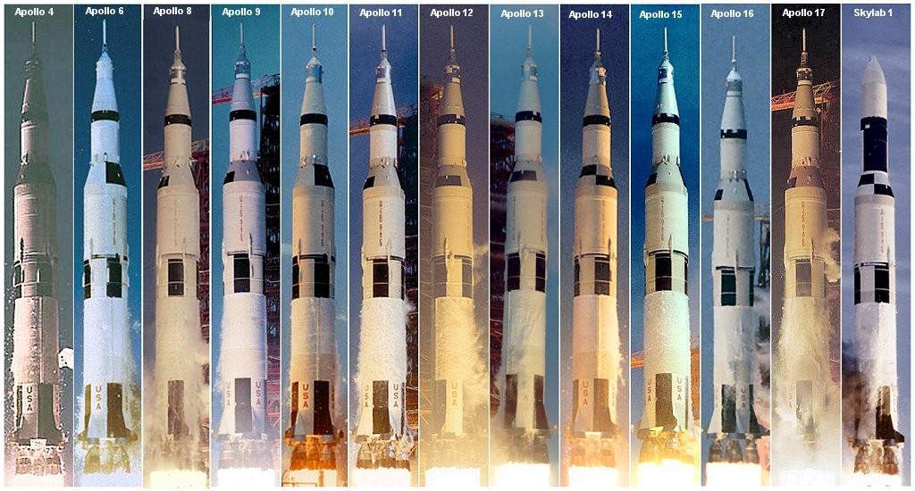 All Saturn V launches, 1967–1973