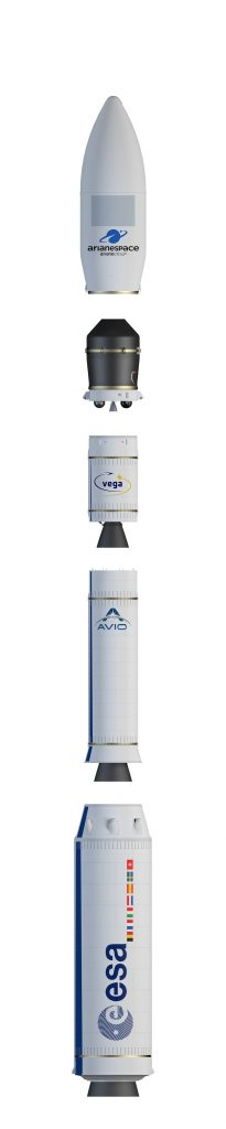 Vega elements showing each stage, the Vespa adapter and fairing. Credits: European Space Agency