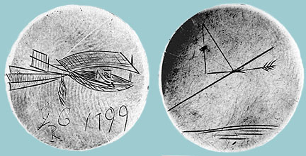 The Cayley Medallion, depicting (left) a Monoplane Glider and (right) Lift and Drag - 1799