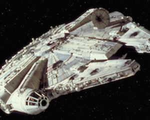 A screenshot from Star Wars Episode IV: A New Hope depicting the Millennium Falcon