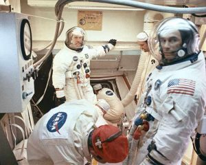Crew boarding the command module before launch (Image credit NASA)