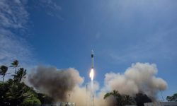 Launch of a Falcon 1 rocket from the SpaceX launch site on Kwajalein Atoll, September 28, 2008. Chris Thompson/SpaceX