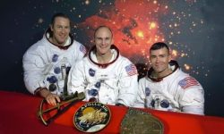 Original crew photo, (left to right) Jim Lovell, Thomas K. Mattingly, and Fred W. Haise.