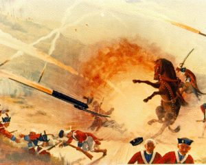 A painting showing the British forces confronted with Mysorean rockets