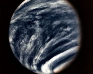 This picture of Venus was captured by the Mariner 10 spacecraft during its approach to the planet in early 1974. Taken with the spacecraft's imaging system using an ultraviolet filter, the picture has been color enhanced to simulate Venus's natural color as the human eye would see it.