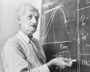 Hermann Oberth, explaining orbital mechanics to his students